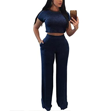 ae09380ce51 Women s Casual Two Piece Outfits Rib Knit Bodycon Crop Top and Long Pants  Set