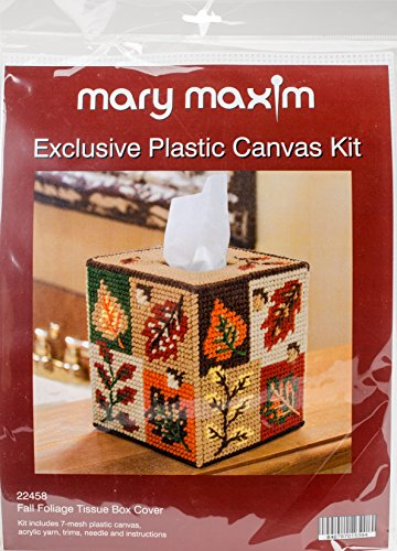 Mary Maxim Fall Foliage Plastic Canvas Tissue Box Kit, 5