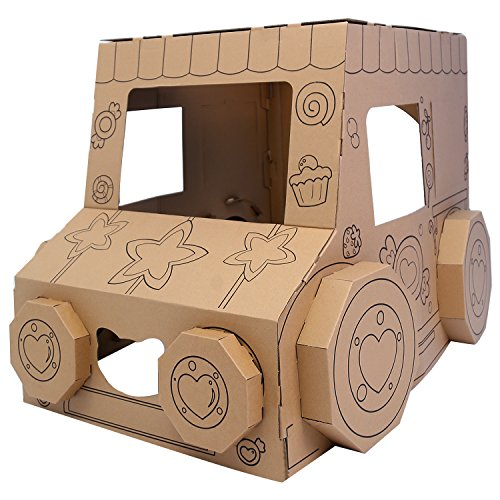 iBonny DIY Toys Indoor Playhouse Cardboard Box Car Toy Vehicle Cardboard Houses