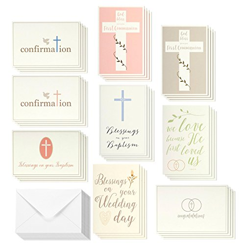 Elegant Pastel Catholic Sacrament Greeting Cards - 9 Sacramental Greetings for Baptism, First Communion, Confirmation, Wedding Blessings, Envelopes Included - 36 Pack First Communion Card