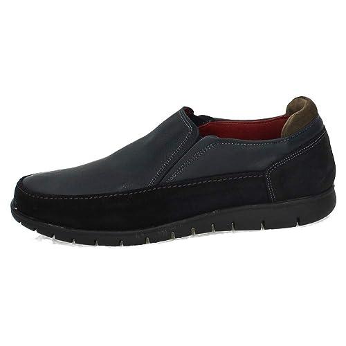 RIVERTY 607 Mocasines DE Piel Hombre Zapatos MOCASÍN Azul Marino 41
