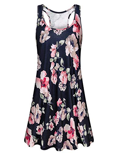 Cucuchy Bohemian Dresses for Women, Tank Tunic Dress Casual Racerback Sleeveless Sundresses Flowy Floral Shift Knee Length Sundress Relaxed Fit Silky Midi Clothes Tropical Modest Clothing Navy Blue L