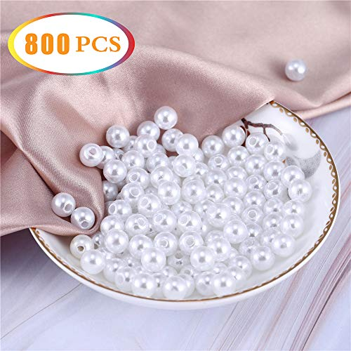 - 800 Pcs 8mm Round White Pearl Vase Filler,Beads for Jewelry Making,Plastic Pearls with Hole Loose Spacer Bead,Brushes Holder,Party Decor