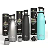 Greens Steel Stainless Steel Water Bottle – 25 oz Vacuum Insulated Double Wall with Push Lid/Leak Proof Thermal Travel Sports Canteen Coffee Flask (25oz Blue)