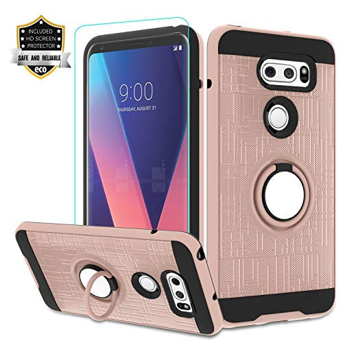 LG V35 ThinQ Phone Case,LG V30/ LG V30 Plus/LG V30S ThinQ Case with HD Screen Protector,Atump 360 Degree Rotating Ring Holder Kickstand Bracket Cover Phone Case for LG V30+ Rose Gold