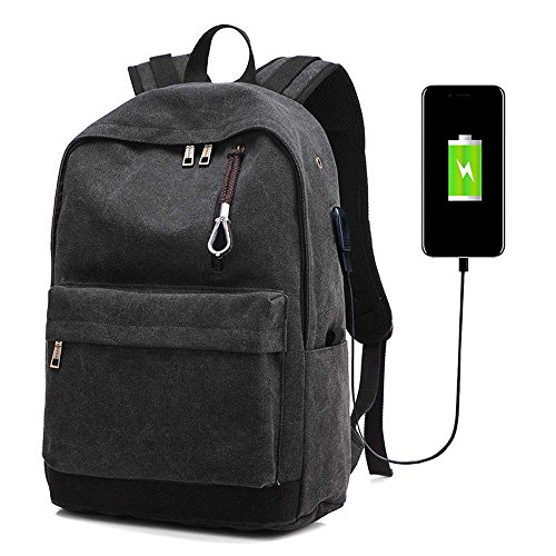 Large Capacity Backpack Canvas Notebook Bag Shoulder Book Bags with USB Charge Port for men&women (black)