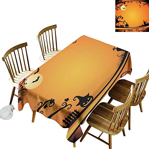 W Machine Sky Stain-Resistant Tablecloth Vintage Halloween Halloween Themed Image Eerie Atmosphere Gravestone Evil Pumpkin Moon W54 xL90 for Family Dinners,Parties,Everyday -