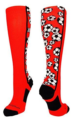 Crazy Soccer Ball OTC Socks (Red/Black, Medium)