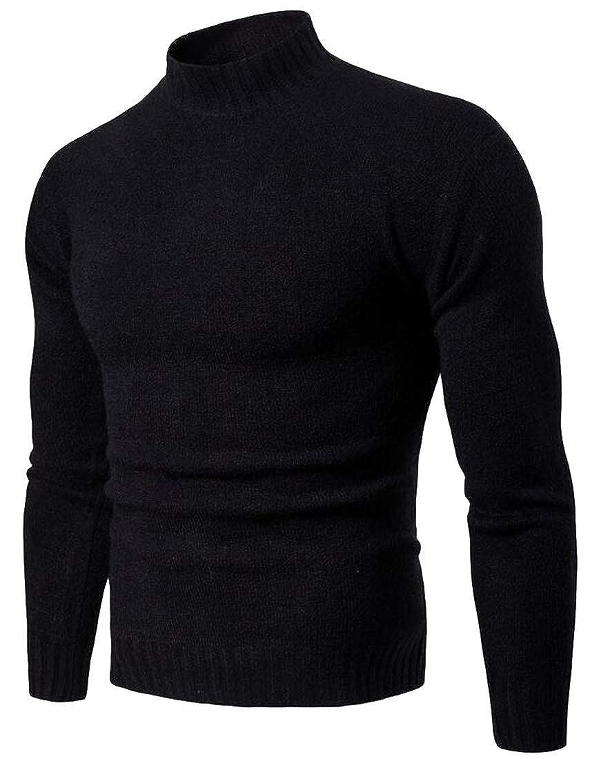 Jofemuho Mens Half Turtleneck Knitted Slim Solid Basic Pullover Sweater Jumper