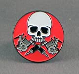Metal Enamel Pin Badge Brooch Tattoo Skull and Guns by Mainly Metal