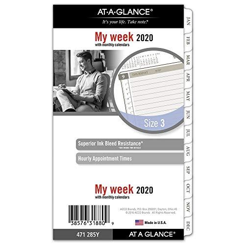 - AT-A-GLANCE 2020 Weekly & Monthly Planner Refill, Day Runner, 3-3/4