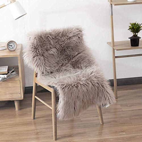LEEVAN Rectangle Sheepskin Rug Supersoft Fluffy Area Rug Shaggy Silky Throw Rug Floor Mat Carpet Decoration (2 ft x 3 ft, Coffee)