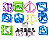Fun Sandwich and bread cutter shapes for kids 21 pcs Set Includes 10 Crust & Cookie Cutters Plus 11 Mini Stainless Steel Vegetable & Fruit Stamp Set - Pastry Cutters Best Sandwich Cutters!