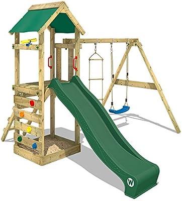 Wickey Aire De Jeux Freeflyer Portique De Jeux En Bois Cabane Pour Enfants Avec Balançoire Toboggan Vert Mur D Escalade échelle De Cordes Et Bac à