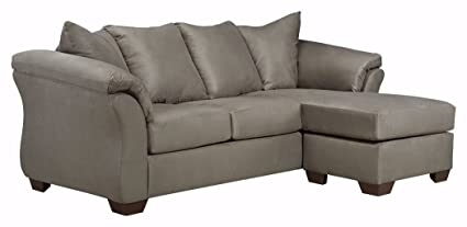 Ashley Furniture Signature Design   Darcy Contemporary Microfiber Sofa  Chaise   Cobblestone