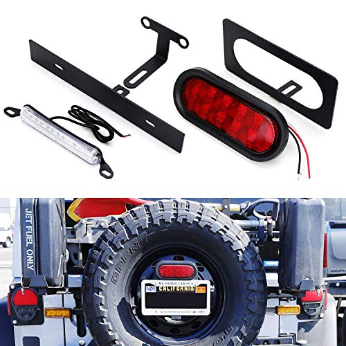 iJDMTOY Rear Spare Tire Mount License Plate/Third Brake Relocation Kit w/Number Plate LED Illumination & Tail/Brake LED Lamp For 2007-2017 Jeep Wrangler JK