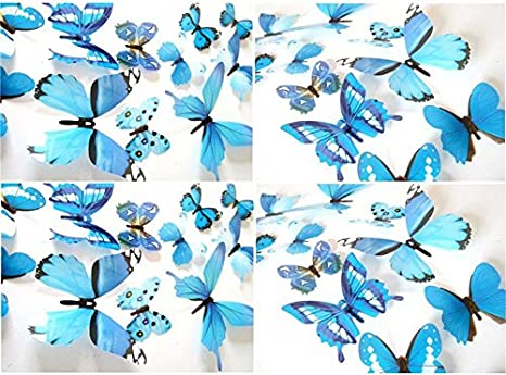 Purple Blue Butterfly Wall Decals 24 Pcs 3D Butterfly Removable Mural Stickers Wall Stickers Decal Wall Decor for Home and Room Decoration