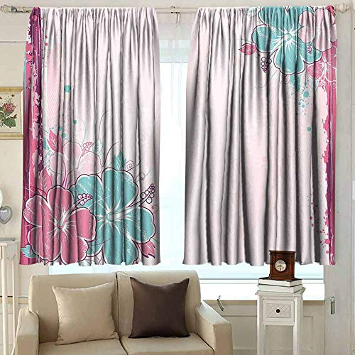 (XXANS Small Window Curtains,Flower,Waterproof Patio Door Panel,W55x39L Inches Light Pink Fuchsia Turquoise)