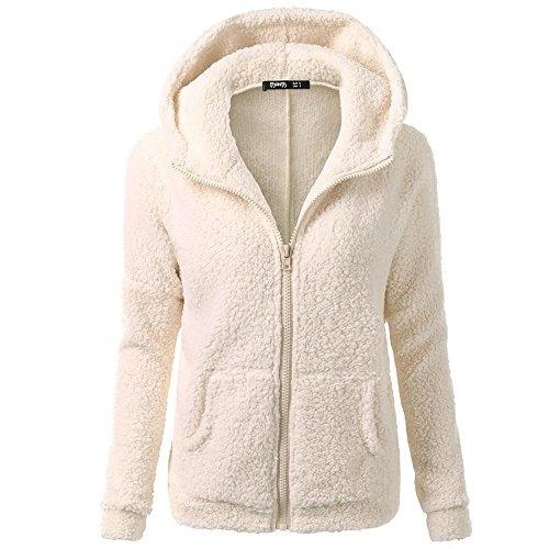HGWXX7 Women's Hoodie Solid Winter Warm Plus Size Cotton Zipper Coat Tops Blouse Sweatshirt Outwear(M,Beige) ()