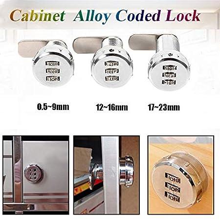Cerradura de Codificaci/ón Lock para Buz/ón de Caj/ón del Gabinete Delaman Cerradura de Combinaci/ón de 3 D/ígitos tama/ño : 1# Coded Lock for 0.5~9mm