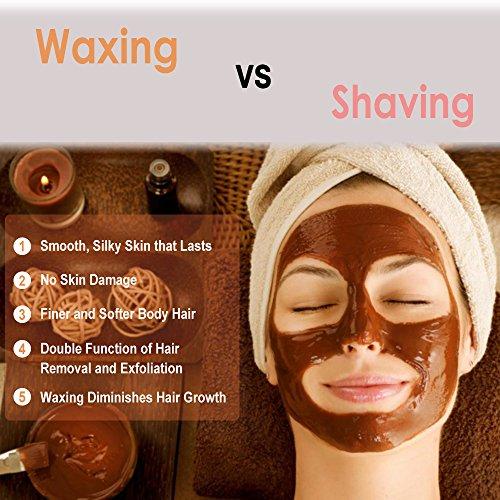 Wax Warmer - Bouvetan Waxing Hair Removal Kit with 4 Hard Wax Beans(14.1oz) and 20 Wax Applicator Sticks (at-Home Waxing) by Bouvetan (Image #2)