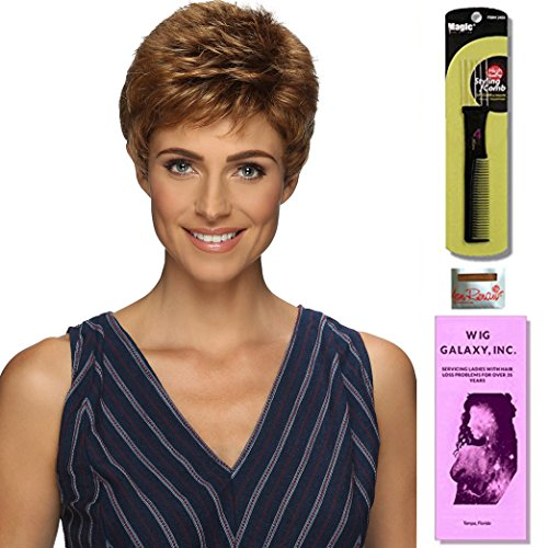 Nancy Average by Estetica, Wig Galaxy Hair Loss Booklet & Magic Wig Styling Comb/Metal Pick Combo (Bundle - 3 Items), Color Chosen: CARAMELKISS