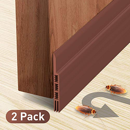 Holikme Door Draft Stopper 2 Pack Brown 39-inch Under Door Draft Blocker Insulator Door Sweep Weather ()