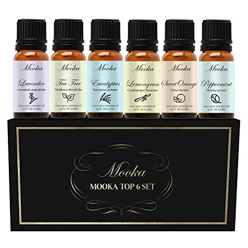 Essential Oils by Mooka, Top 6 100% Pure Therapeutic Grade Aromatherapy Essential Oil Set & Kit (Lavender, Tea Tree, Eucalyptus, Lemongrass, Sweet Orange, Peppermint)
