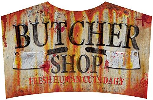 [Butcher Shop Sign Metal Halloween Zombie Apacolypse Decoration Horror Prop] (Road Sign Halloween Costumes)