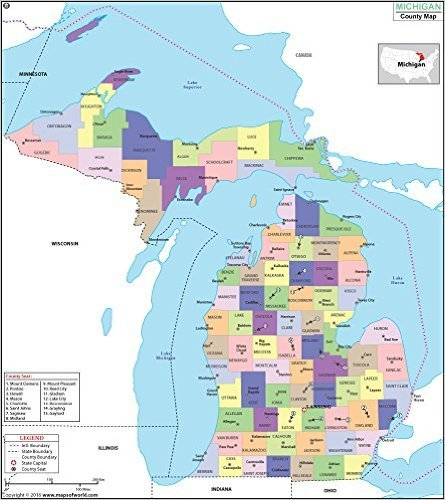 Michigan Wall Map - Michigan County Map (36