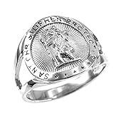 925 Sterling Silver Saint Christopher Medallion Ring (Size 8.5)