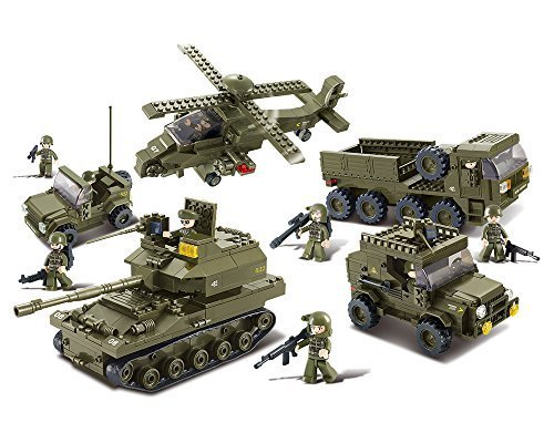 Helicopter Block - Sluban M38-B0311 Ground Forces Joint Attack Blocks Bricks Toy – Hind Helicopter and T-90 Main Battle Tank Personnel Carriers and Army Jee