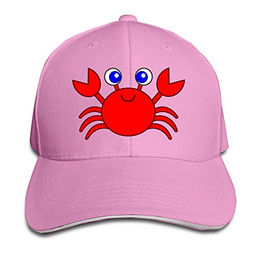 cartoon-crab-unisex-100-cotton-adjustable-baseball-cap-pink-one-size