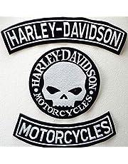 Generico, Set met 3 grote zilverkleurige patches in boogvorm met de letters Harley Davidson + Motorcycles + 1 doodskop