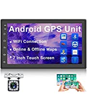 Car Radio Android Car Stereo Double Din Audio Video Receiver with Bluetooth GPS Navigation 7 Inch Touch Screen Support WiFi/FM/USB Mirror Link for Android/IOS Steering Wheel Control with Backup Camera