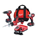 Milwaukee 2799-22CXP M18 Combo Kit 18-Volt Lithium-Ion Cordless Compact Brushless Hammer Drill Impact Combo Kit (2-Tool) with M18 Hackzall