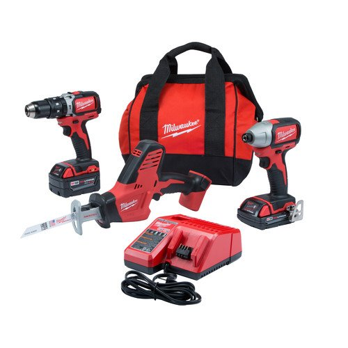 Milwaukee 2799-22CXP M18 Combo Kit 18-Volt Lithium-Ion Cordless Compact Brushless Hammer Drill Impact Combo Kit (2-Tool) with M18 Hackzall by Milwaukee