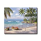 Shukqueen Diy Oil Painting, Adult's Paint by Number Kits, Acrylic Painting-Sunny Beach 16X20 Inch (Frameless)