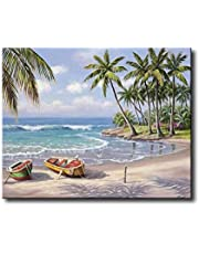Shukqueen DIY Oil Painting, Adult's Paint by Number Kits, Acrylic Painting-Sunny Beach 16X20 Inch