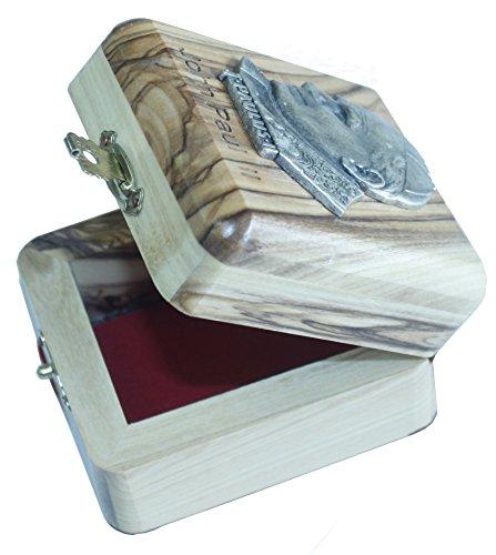 First Communion Box - Rosary Box - Bethlehem Olive wood (Metal - JPII) by Holy Land Market (Image #1)
