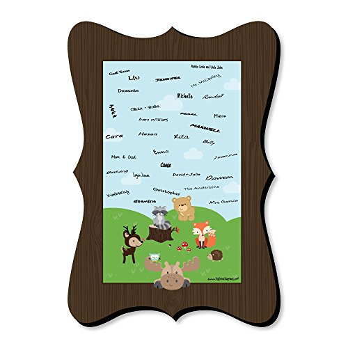 Woodland Creatures - Unique Alternative Guest Book - Baby Shower or Birthday Party Signature Mat by Big Dot of Happiness