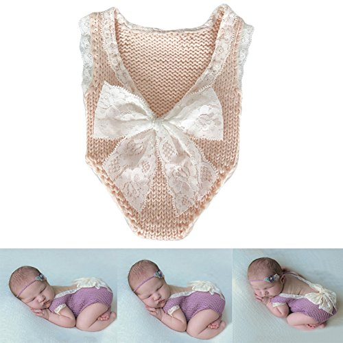 Baby Photography Props Girl Photo Shoot Outfits Newborn Crochet Costume Infant Knitted Clothes Rompers (Peach)