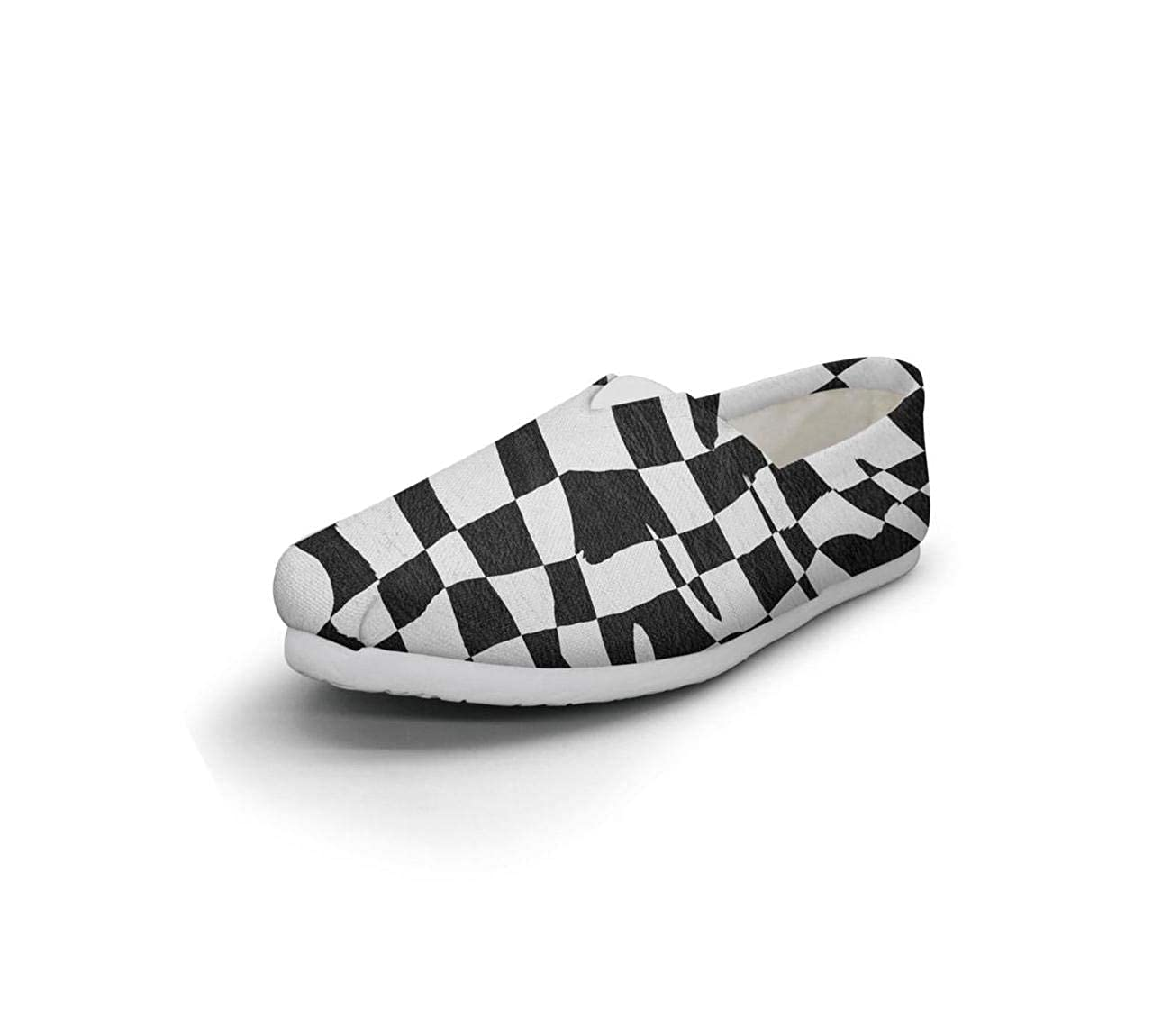 Art Palm Leaf Feather Checkerboard Women Lightweight Casual Canvas Fashion Sneakers Sports Shoes