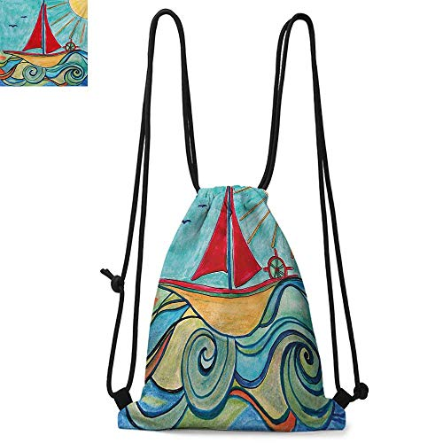 (Art Made of polyester fabric Baby Boy Paintings Ship in the Waves of Ocean Sun Kids Girls Nursery Picture Waterproof drawstring backpack W17.3 x L13.4 Inch Teal Red Earth Yellow)