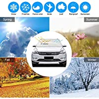 GLANDU Windshield Snow Cover Anti-Theft Magnetic Edge?Snow Protection/Ice/Sun Shade Cotton Thicker Snow Protection Cover?Heat Preservation/Antifreeze/Durable? Suitable for Most Cars