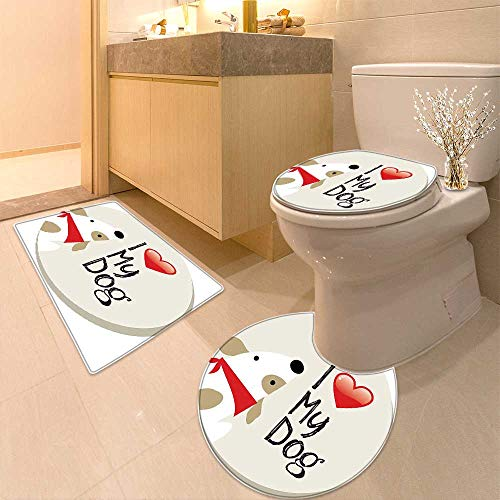 Printsonne Bathroom Non-Slip Floor Mat Decor Collection I Love My Dog Text Typeset Typescript Medical Veterinary Abstract Illustration Machine-Washable by Printsonne