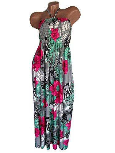 Damen Sommerkleid lang, Maxikleid, Neckholder, aus weichfließender Viskose, Grau-Pink-Grün, AM-DA-RUT-1516
