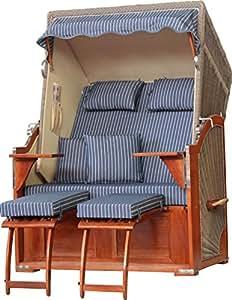 Playa cesta Juist caoba PE gris Dessin Royal Azul se envía montado