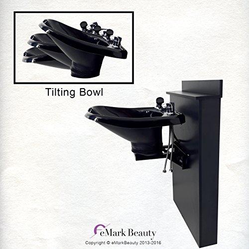 (TILTING ABS Plastic Shampoo Bowl Black Floor Length Backsplash 13WT-BC38)