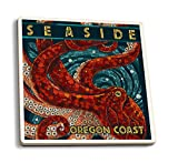 Lantern Press Seaside, Oregon Coast - Octopus - Mosaic (Set of 4 Ceramic Coasters - Cork-Backed, Absorbent)